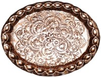 VEDA HOME & LIFESTYLE Embossed Copper Tray (Brown, Pack Of 1)