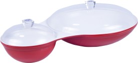 Deseo Chip & Dip Acrylic Platter, Red Solid Plastic Plate