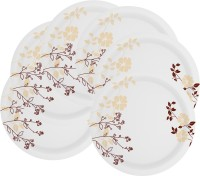Mehul 12.5 Inch Sonata Dish M-202 Gala Brown 6 Pcs Printed Melamine Plate Set (White, Brown, Pack Of 6)