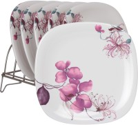 White Gold Flowery Printed Melamine Plate Set (White, Pack Of 6)