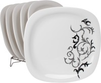 White Gold Trendy Printed Melamine Plate Set (White, Pack Of 6) - PTDE7RWGGSYZWBBD