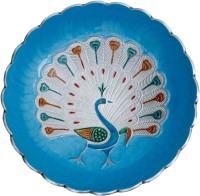 Craft Art India Aluminium Round Shape Royal Blue Fruit Bowl With Peacock Design Engraved Solid Aluminium Tray (Multicolor, Pack Of 1)