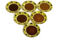 Caffeine Handmade Artistic Pattern Brown Round Engraved Ceramic Plate Set (Brown, Pack Of 6)