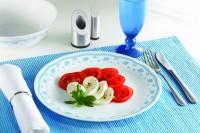Corelle Livingware Morning Blue 6 Pcs Dinner Printed Glass Plate Set (White, Blue, Pack Of 6)