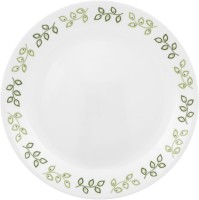 Corelle India Impressions Neo Leaf Medium Printed Glass Plate Set (White, Green, Pack Of 6)