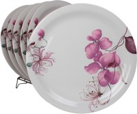 White Gold Flowery Printed Melamine Plate Set (White, Pack Of 6) - PTDE7RWGSETJAEUT