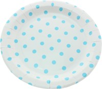 Funcart Polka Dot Round Printed Paper Plate Set (Blue, Pack Of 12)