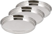 Ndura Khumcha Coil 09_10_11 Solid Stainless Steel Plate Set (Silver, Pack Of 3)