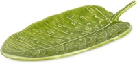 Color Palatte Leaf Platter Embossed Aluminium Plate (Green, Pack Of 1)