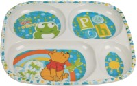 Disney Ph4014-Pooh 4-Section D Printed Melamine Plate (Multicolor, Pack Of 1)