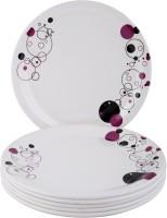 ONEX Dinner Serving Trendy Printed Melamine Plate Set (White, Pack Of 6)