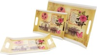 Tibros Magic Alchbmist Printed Melamine Tray Set (Yellow, Pink, Brown, Pack Of 3)