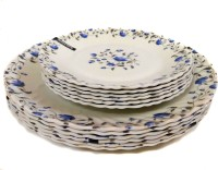 Wood & Kemp Smart Dinning Maria 12 Pieces Printed Melamine Plate Set (White, Blue, Pack Of 12)