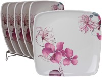 White Gold Flowery Printed Melamine Plate Set (White, Pack Of 6) - PTDE7RWGZZBGBGUC