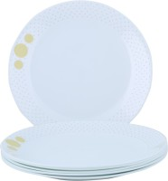 Corelle India Collection Spiral Small Printed Glass Plate Set (White, Blue, Pack Of 6)