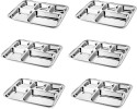 Dezinox Rectangular Mess Solid Stainless Steel Plate Set - Steel, Pack Of 6