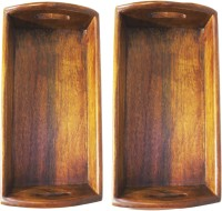Raja Arts Size 30 X 20 Cm Solid Wood Tray (Brown, Pack Of 2)