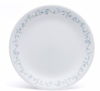 Corelle Livingware Country Cottage Medium Printed Glass Plate Set (White, Green, Pack Of 6)