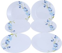 Corelle Blossom Small Printed Glass Plate Set (White, Blue, Pack Of 6)