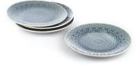 Buono Casa Eudora Embossed Snacks Plate Set Of 4 -Grey Embossed Porcelain Plate Set (Grey, Pack Of 4)
