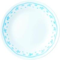 Corelle Livingware Morning Small Printed Glass Plate Set (White, Blue, Pack Of 6)