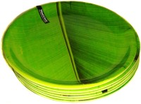 Wood & Kemp Banana Leaf 7.5inch Half Printed Melamine Plate Set (Green, Pack Of 6)
