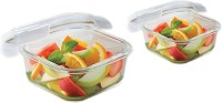 Borosil Microwavable Klip - N - Store Square Dish With Lid Solid Glass Dish Set (White, Pack Of 2) - PTDEHP9JDB6BDKGY