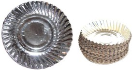 Paper Plates Silver Embossed Paper Plate Set