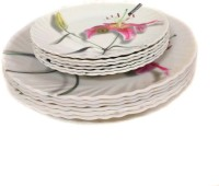 Wood & Kemp Smart Dinning Maria 12 Pieces Printed Melamine Plate Set (White, Pink, Pack Of 12)
