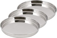 Ndura Khumcha Coil 11 Solid Stainless Steel Plate Set (Silver, Pack Of 3)