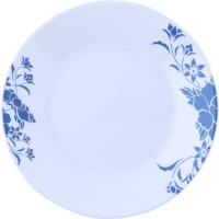 Corelle India Impression Royal Small Printed Glass Plate Set (White, Blue, Pack Of 6)
