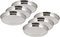 Ndura Khumcha Coil 11 Solid Stainless Steel Plate Set (Silver, Pack Of 6)