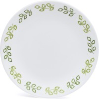 Corelle India Impressions Neo Leaf Small Printed Glass Plate Set (White, Green, Pack Of 6)