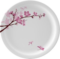Servewell Pink Blossoms Printed Melamine Plate (Pink, White, Pack Of 6)