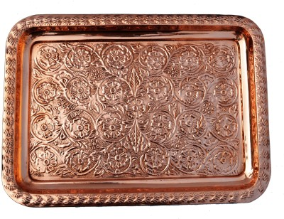 Veda Home & Lifestyle COPPER EMBOSSED SERVING TRAY Embossed Copper Tray (Brown, Pack Of 1)