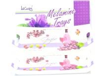 Lacuzini Rectanglular Smart Printed Melamine Tray Set (Purple, White, Pack Of 2)