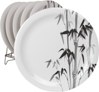 White Gold Bamboo Printed Melamine Plate Set (White, Pack Of 6)