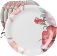 White Gold Dynasty Printed Melamine Plate Set (White, Pack Of 6)