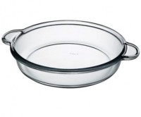 Pasabahce Borcam Round 59234 With Handle Baking Solid Glass Tray (White, Pack Of 1)