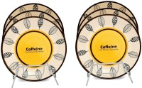 Caffeine Handmade Leaf Print Engraved Ceramic Plate Set (Yellow, Pack Of 6)