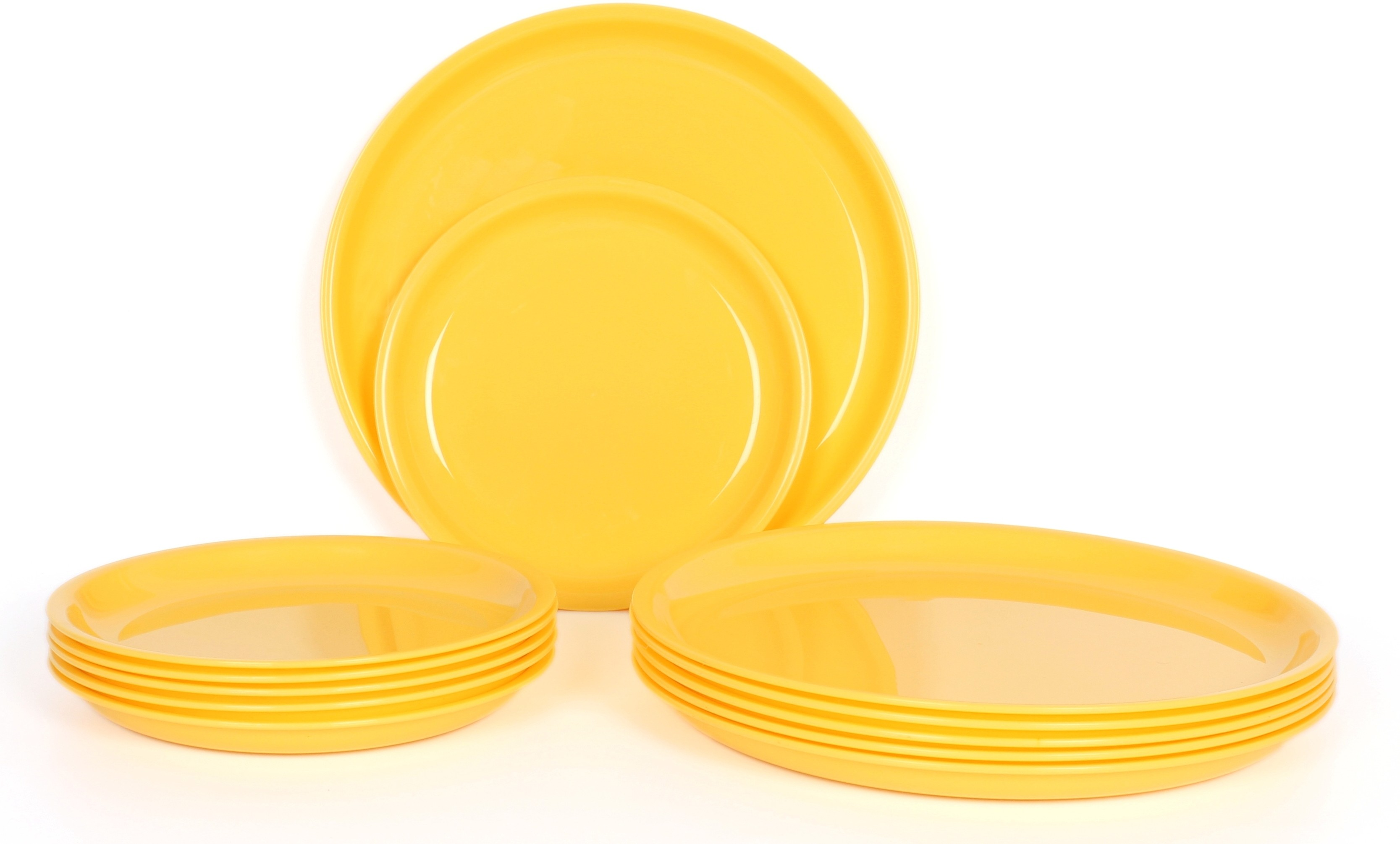 Gluman Microwave Safe Round Solid Plastic Plate Set