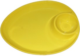 White Gold Chip & Dip Oval Yellow Solid Melamine Plate