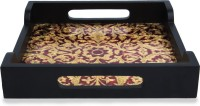 Adaa Meenakari Design With Inlay Work - Square (Width 10 Inches) Printed Wood Tray (Red, Gold, Pack Of 1)