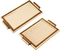 Aaina Home Decor Ethnic Embossed Wood, Glass Tray Set (Gold, Beige, Pack Of 2)