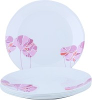 Corelle India Collection Lotus Printed Glass Plate Set (White, Pink, Pack Of 6)
