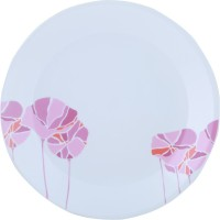 Corelle India Collection Lotus Small Printed Glass Plate Set (White, Pink, Pack Of 6)