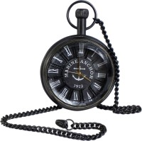 RoyaltyLane Classic Smooth Vintage Numeral Metal Gold Color Pocket Watch WP-1605 Classic Smooth Vintage Roman Numeral Metal Black Color Mens Womens Pocket Watch - 1.8 Inch Brass Pocket Watch Chain