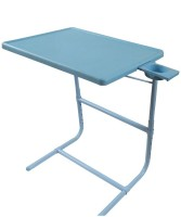 TABLEMATE II Blue Platinum Mate With Double Foot Rest Adjustable Folding Study Cupholder Kids Reading Breakfast Plastic Portable Laptop Table (Finish Color - Blue)