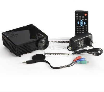 "Wonder World GoProâ""¢ Mini 1080P HD Multimedia LED LCD Home Cinema Theater AV TV VGA HDMI Portable Projector (Black)"