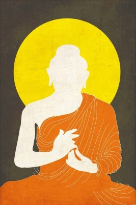 Buddha - Orange Drape Silhouette Paper Print - Small